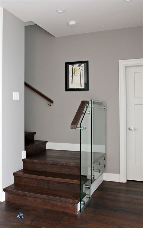 sherwin williams dorian gray in contemporary stairwell with glass and dark m