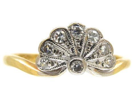 deco gold deco platinum 18ct gold fan ring the