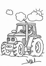 Coloring Tractor Working Farmer Pages Print sketch template