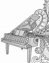 Blank Coloring Piano Pages Zentangle Diary Notebook Adult Books Journal Colouring Adults Pianos Sheets Gray Lined Zentangles Mandala Notes Open sketch template