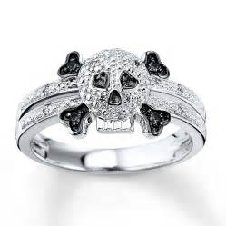 skull engagement ring black white skull 1 15 ct tw ring sterling silver
