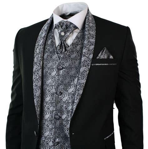 Mens Wedding Party Suit Tuxedo 5 Piece Black Round Shawl