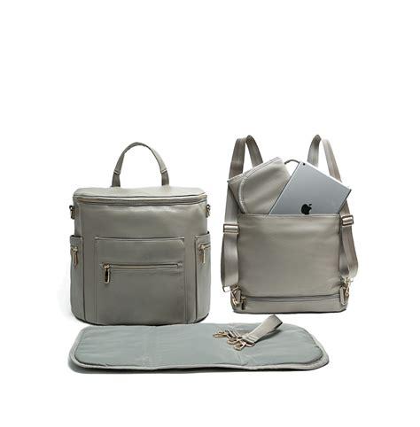 fong leather diaper bag backpack  grey diaper bags  moms