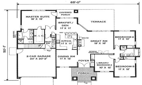 Open One Story House Plans Simple One Story House Floor