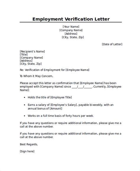 employment verification letter templates  documents