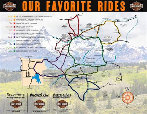 Harley Davidson Maps by Favorite Rides Travel Information Beartooth Harley