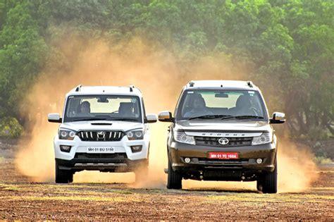 tata safari storme facelift  mahindra scorpio comparison