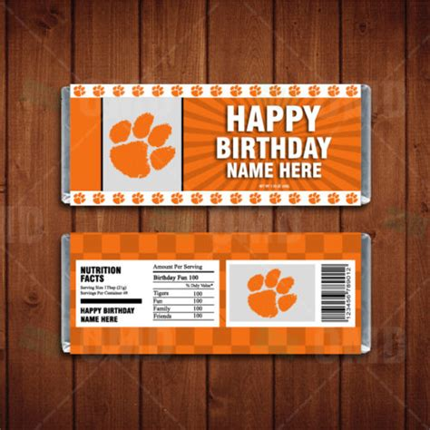 sports invites clemson tigers custom candy bar wrappers