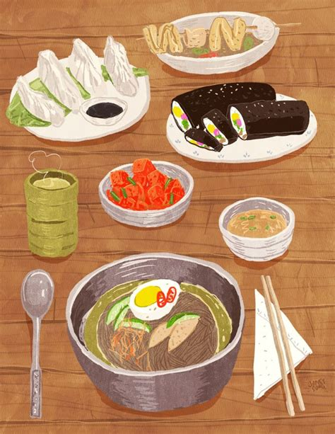 60+ Korean Food Drawing