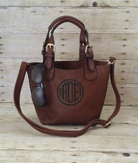 monogrammed small coffee crossbody purse dark brown