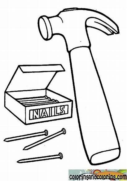 Hammer Coloring Pages Nails Drawing Nail Printable