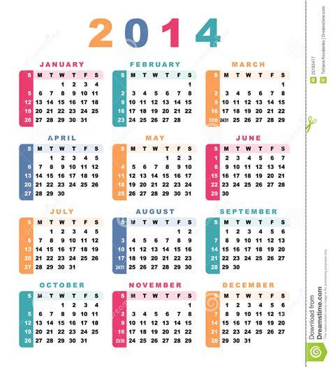 Calendario 2014 Ilustración Del Vector. Imagen De Diario