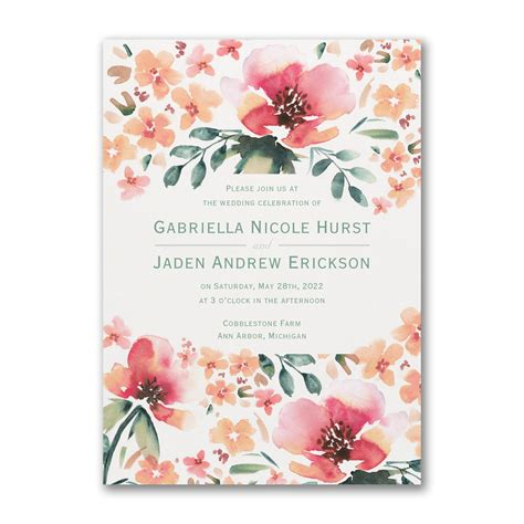 vibrant flowers invitation   wedding invitations