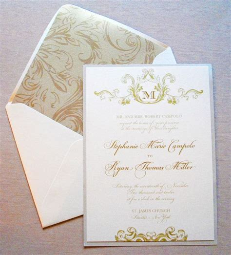 champagne ivory  gold wedding invitations