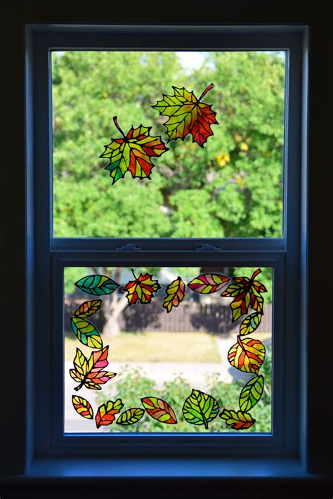 stained glass leaf suncatcher template adventure   box