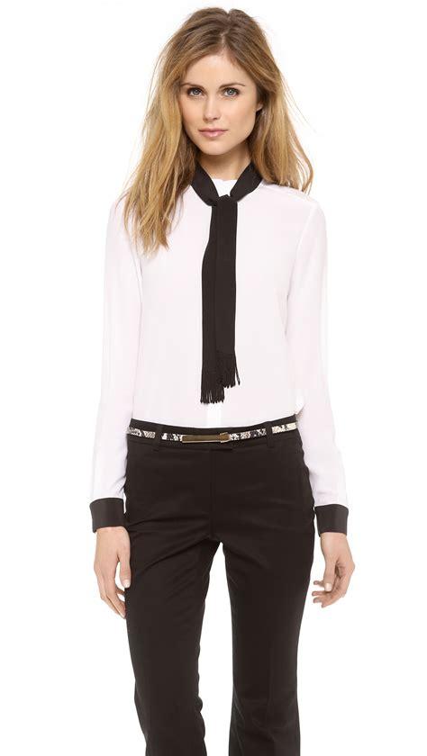 the blouse zoe ricky neck tie blouse in black optic white