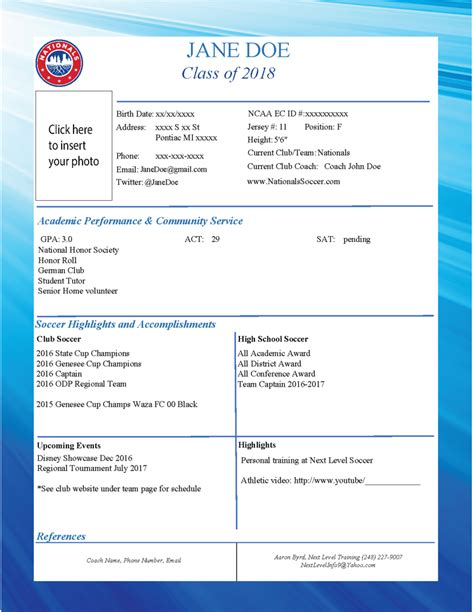 Soccer Player Profile Template by College Recruiting Team Player Profiles