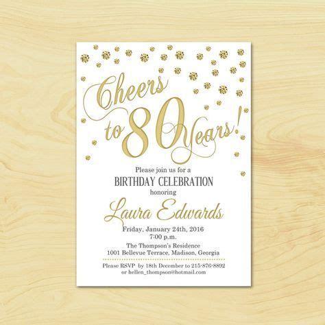 80th Birthday Invitation / Any Age / Gold White Invite