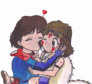 Ashitaka Kisses San by princessmononokesan on DeviantArt
