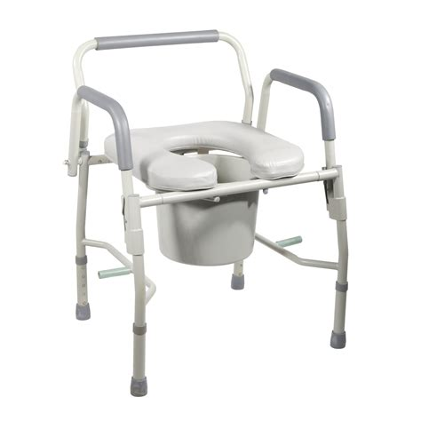 steel drop arm bedside commode with padded seat and arms leika