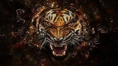 Tiger Glass Animals Abstract Digital Broken Face