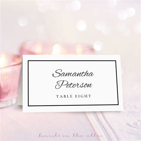 wedding place card template  place card template
