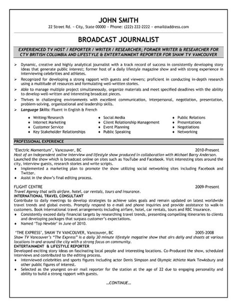 Free Journalist Resume Templates by Sle Resume For Broadcast Journalist Images