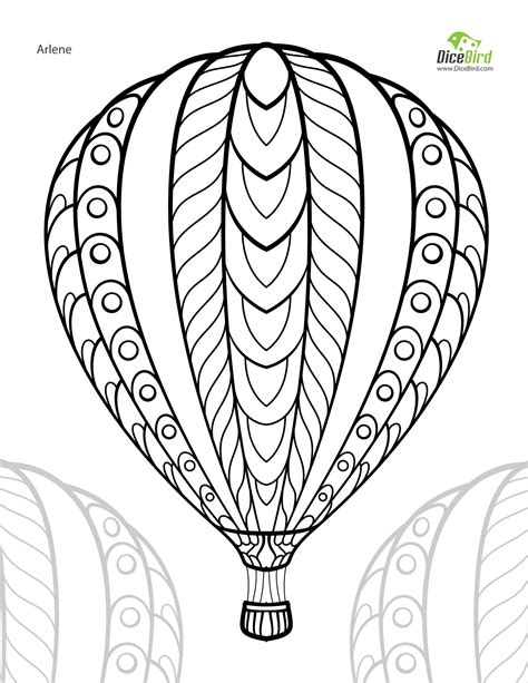 hot air balloon adult  printable colouring page