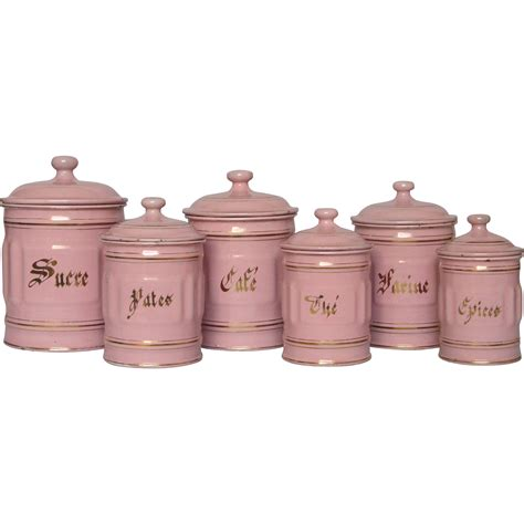 Pink Kitchen Canisters by Complete Six Pink Enamelware Canister Set