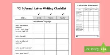 year  informal letter writing checklist  checklists
