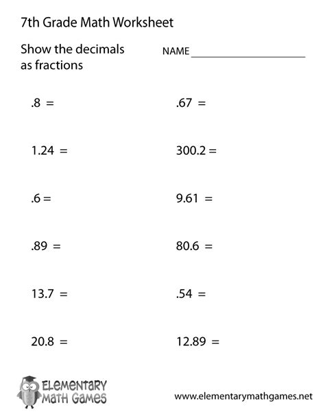 seventh grade decimals worksheet