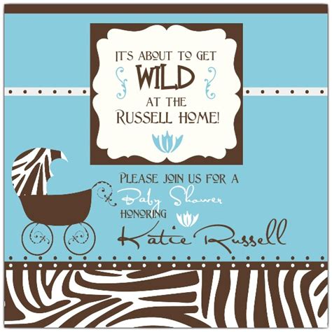 frame zebra blue baby shower invitations paperstyle