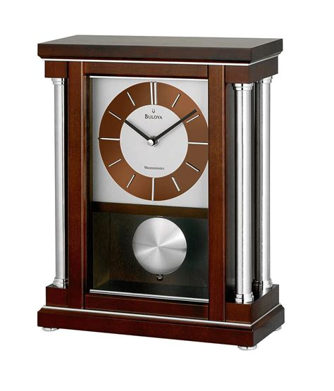 Bulova Table Clock Westminster Ave by Bulova Chiming Mantel Clock Polished Inlaid Accents