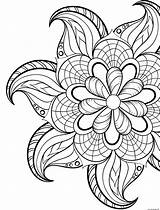 Coloring Flowers Spring Mandala Printable Prints sketch template