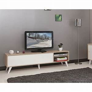 meuble tv pieds inclines 165 cm chene blanc 3170a3421a01 With meubles blanc lisle sur tarn