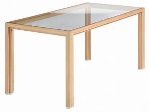 Alvari tisch aus l rchenholz mit glasplatte und for Tisch mit glasplatte