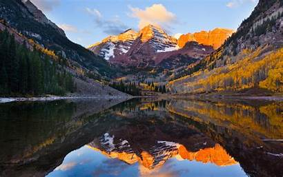 Maroon Reflection Mirror Mountains Wallpapers Lake Bells
