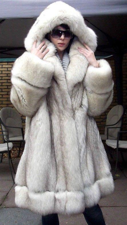 Awesome Hooded Blue Fox Fur Coat  Fuzzy Wuzzy