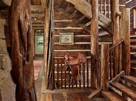 lit superpose bureau maison rustique entièrement en bois au montana états