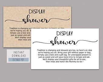 wedding present registry printable display shower insert for bridal shower