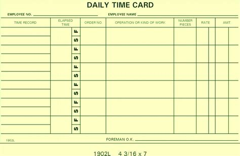 Time Card Template For Numbers by 1902l Job Cards