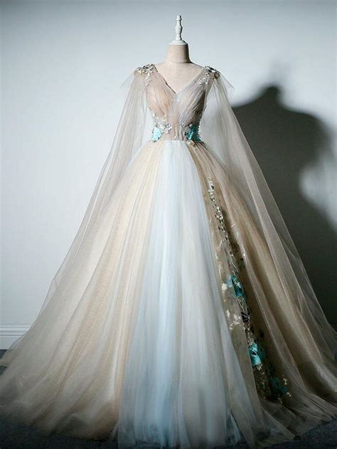 ball gown prom dresses  neck appliques fairy dress long