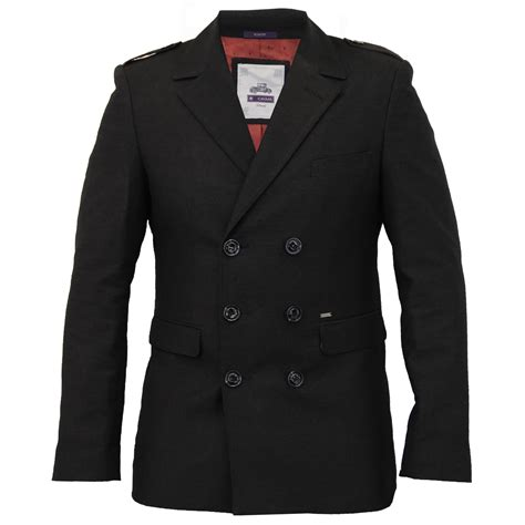Mens Jacket Cavani Coats Double Breasted Formal Military Epaulette Casual Lined | eBay