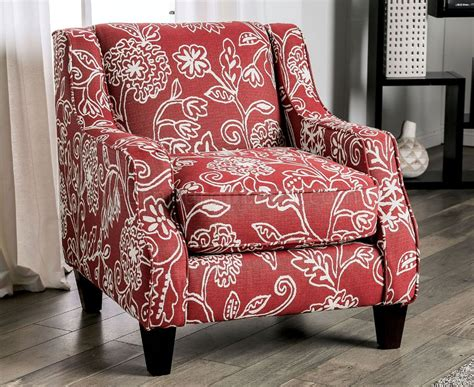ames accent chair sm ch fl  red floral patterned fabric