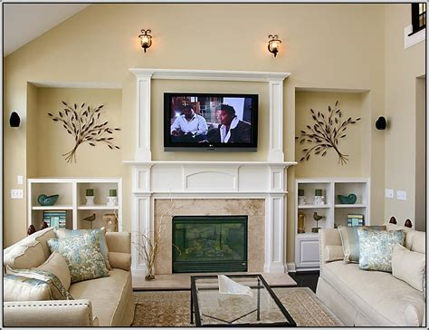 living room setup with fireplace family room walls