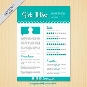 cute turquoise resume template vector premium download With cute resume templates