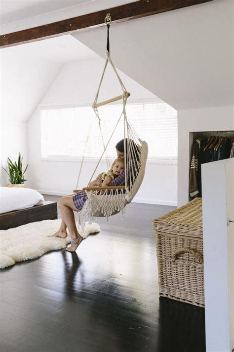 sleek bohemian rustic family home hammock  bedroom