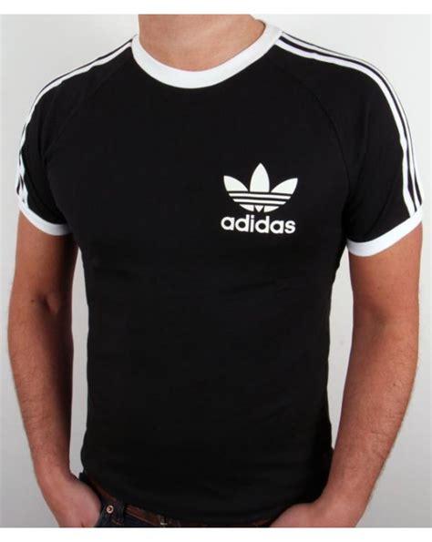 adidas originals retro 3 stripes t shirt black california