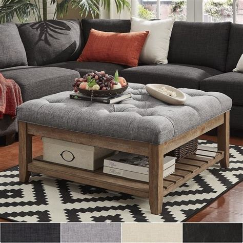 Cloth Ottoman Coffee Table by Lennon Pine Planked Storage Ottoman Coffee Table By