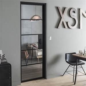 Porte Interieur Grise : bloc porte laqu e noir chlo artens x cm ~ Mglfilm.com Idées de Décoration